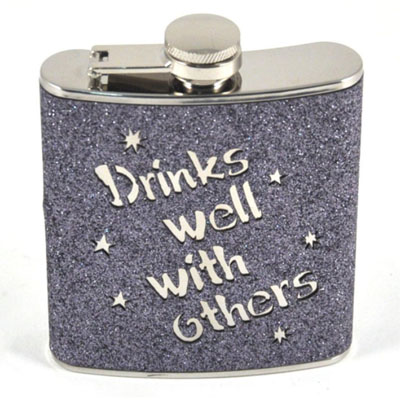 130220-Bar Flask - 7oz Grey Glitter ''Drinks Well With Others''