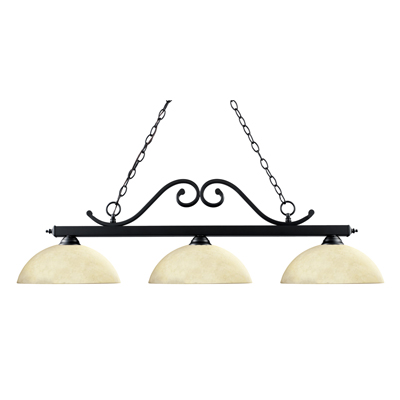 149MB-DGM14-Windsor Billiard / Island Light with 3 14'' Golden Mottle Glass