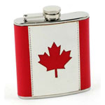 Bar Flask - Stitched 6 oz Canadian Flag Stainless Steel Hip Flask