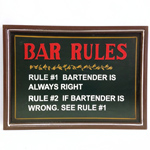 10893 - Bar Rules - Wooden Bar Sign