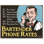 11410 - Bartender Phone Rates Tin Sign