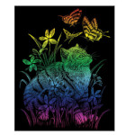 15864 - Rainbow Kitten and Butterflies Foil Engraving Art (RAIN26)