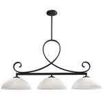 11267 - Arshe Café Bronze Island/Billiard Lamp With White Watermark Shades