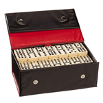13560 - Double 12 Ivory Black Dot Dominoes - Vinyl Case