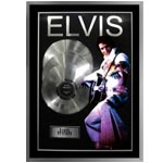 7414 - Elvis Presley Unsigned 3 Platinum Records Frame