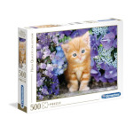 14424 - Clementoni Ginger Cat in Flowers - 500 Pc Puzzle