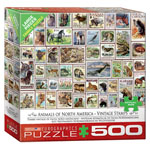 12863 - Eurographics Animals of North America - Vintage Stamps 500 Piece Puzzle
