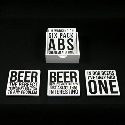 150005-Assorted White Beer Coasts With Tray