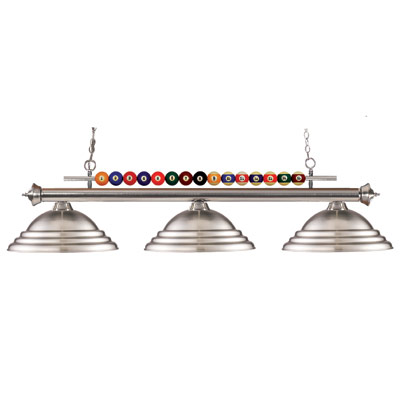 265080-Shark Billiard Lamp with 3 Brushed Nickel Shades