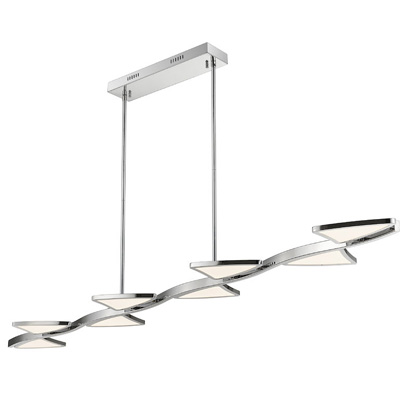 265902-Aeon Chrome Island/ Billiard Lamp with White Shades