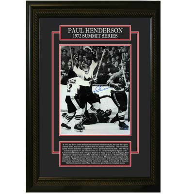 56-525-Paul Henderson Signed Etched Mat Framed Team Canada 1972 Summit Series