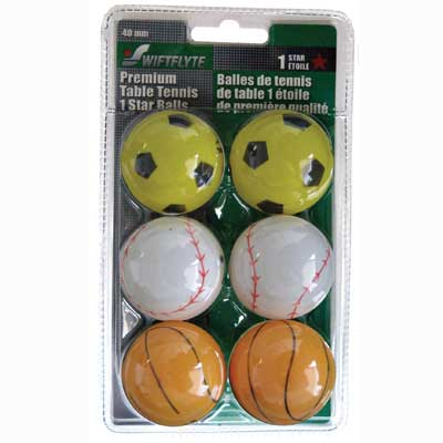 800035-1 Star Assorted Sport Table Tennis Balls (6 pack)
