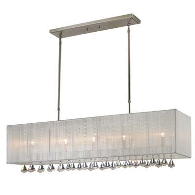 891-45W-Aura Five Light Island/Billiard Lamp Finish Brushed Nickel With White Shades And Clear Crystals